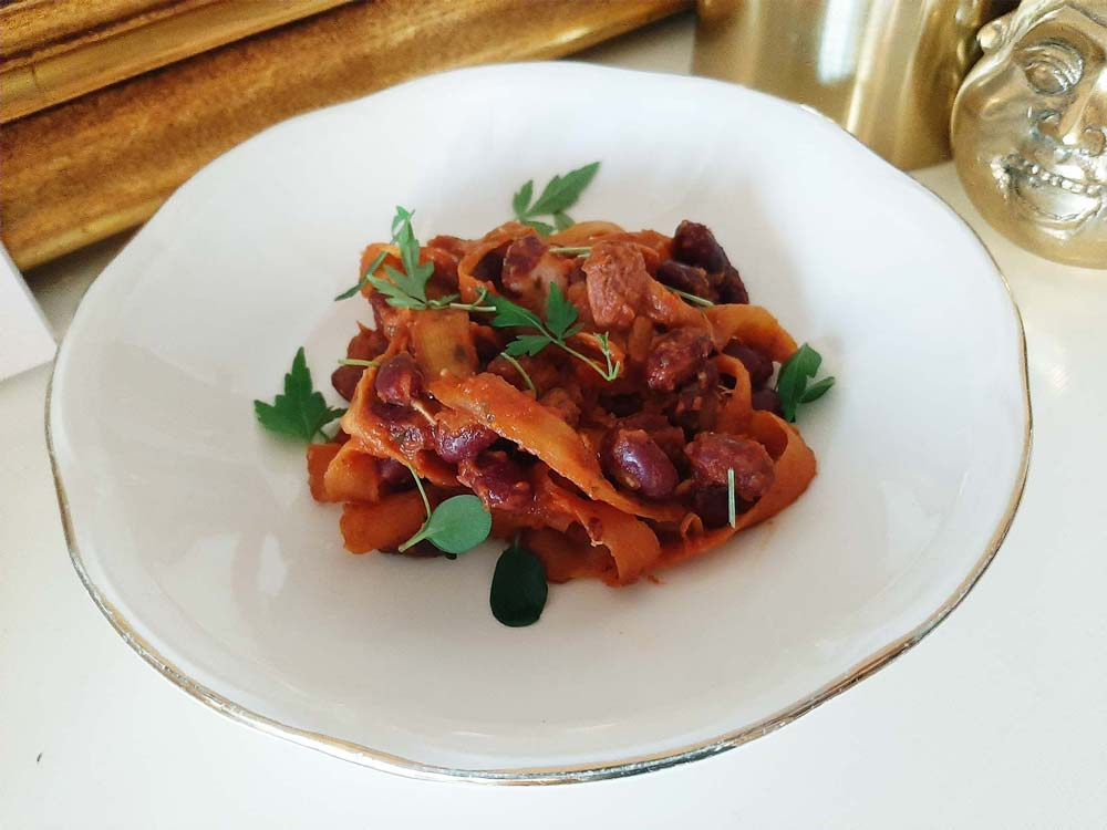 Parsnip tagliatelle with red beans