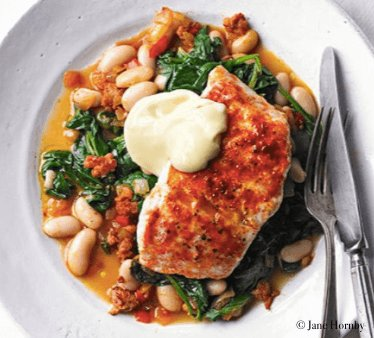 Hake with chorizo, beans and spinach