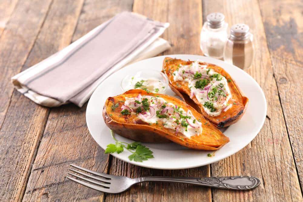 Sweet potato with fresh cheese